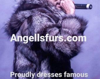 Men'S New Real Natural HOODED SILVER FOX Fur Coat!