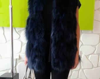A longer Version of NEW, Natural,Real BLUE color Fox Fur Vest