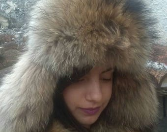 Super MODERN!New,natural,Real Raccoon and leather Fur trapper hat! ONE size