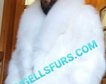 Men'S New Real Natural WHITE Long FOX FuR COAT!