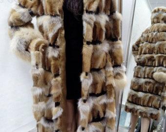 New,Natural Real Red Fox Hooded Long Fur coat!