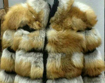 MEN'S NEW FUR! Real Natural half full skins Red Fox Fur Jacket!