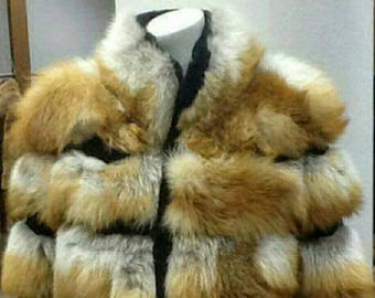 MEN'S NEW FUR! Real Natural half full skins Red Fox Fur Jacket!