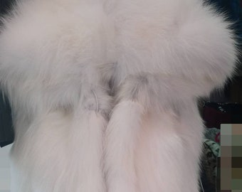 NEW! Natural,Real Hooded Golden White Fox Fur Vest!