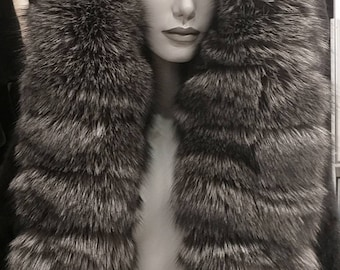 NEW!Amazing Natural Real Mink Fur Jacket with Hood and Collar Full of Silver Fox!