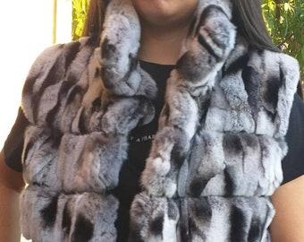NEW! Natural,Real Rex fur vest in chinchilla color!