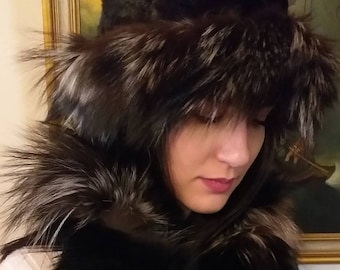 New!Natural,Real BLACK MINK Fur HAT with Silver Fox stripe!