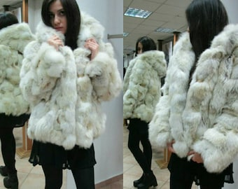 New Natural REAL HOODED FOX Fur jacket!