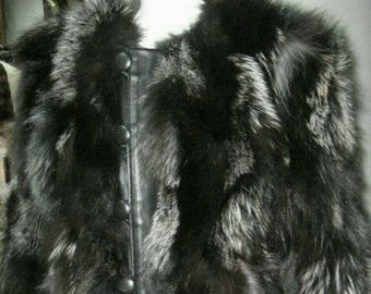 MEN'S New!Real Natural dark SILVER Fox Fur Jacket with DETACHABLE Collar!