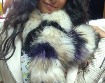 New!Natural Real Beautiful Raccoon scarf-PURPLE Touch!
