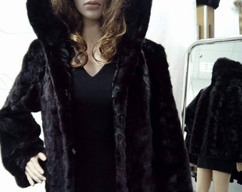 NEW Natural Real Hooded MINK Fur Jacket!