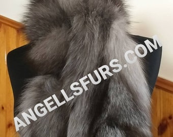 MEN'S New!Natural and Real SILVER FOX fur Scarf! Unisex