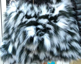 New!Natural,Real Fox FUR BAG