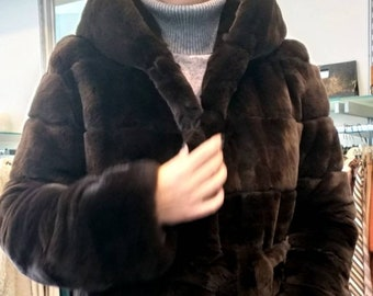NEW Natural Real Beautiful Hooded Fullskin CHOCOLATE BROWN Rex Fur Coat!