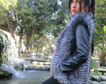 New Real Natural SILVER FOX Fur Vest! Order Any color!