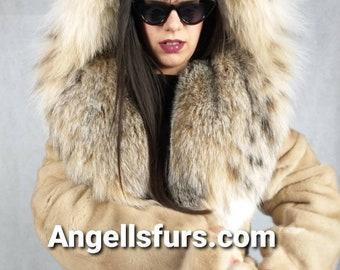 New!Natural Real Superior Quality FULLSKINS Light beige MINK Fur Coat!