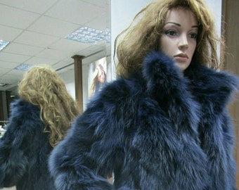 """Longer Version of """"DIVE into THE BLUE""""!New,Natural Real Blue Fur fox jacket"""