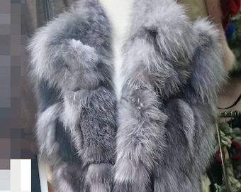 New,Real Natural Long Silver Fox Fur Vest!