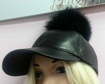 New!Natural Black Real LEATHER  Jockey Hat with Black Fox pom! Order ANY COLOR!