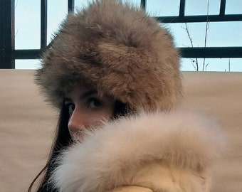 New!Natural,Real Coyote One size  Fur HAT!