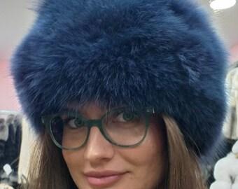 New!Natural,Real Royal BLUE color Fox Fur HAT! Order Any color!