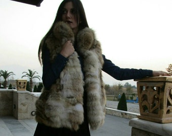 New!BEAUTIFUL FLUFFY SOFT Natural Real Coyote Fur Short Vest!