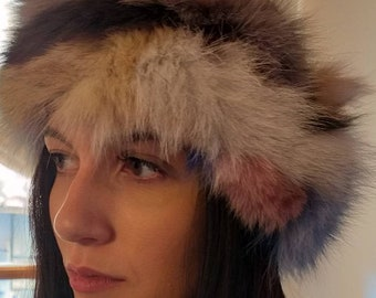 New!Natural Real Multicolored FOX fur Headband!