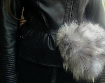New!Natural,Real Silver Fox BELT Bag!