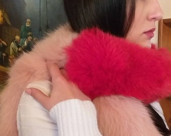 New!!!Natural Real PINK and RED Fox  scarf!