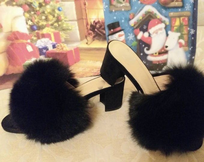 Featured listing image: New Real BLACK FOX Fur MULES!