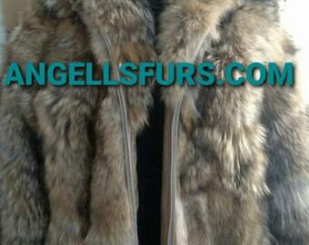 MEN'S NEW!Real Natural Hooded Dark color COYOTE Fur Coat!