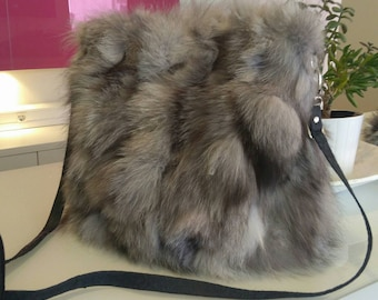 New!Natural,Real SILVER FOX Fur Bag