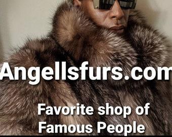 Men'S New!Real Natural CRYSTAL FOX Fur Coat!ORDER Any Color!