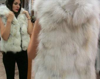 New Natural Real HOODED FOX Fur short vest!