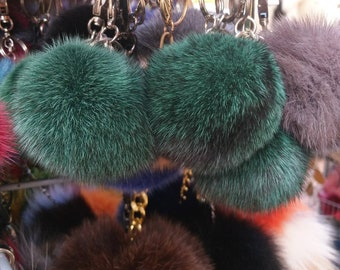 New Excellent Quality GREEN MINK Pompon keyring!