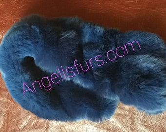New Natural Real Rex fur Headbands in Blue color!