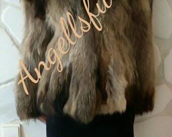 New!Natural Real RACCOON Fur Coat!