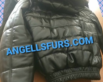MEN'S New Real Natural Winter Black LEATHER BOMBER jacket with Detachable hood!