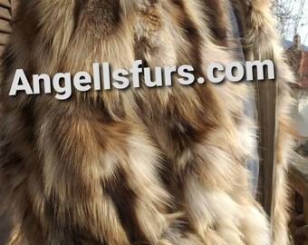 MEN'S New!Real Natural color Hooded FOX Fur Jacket!