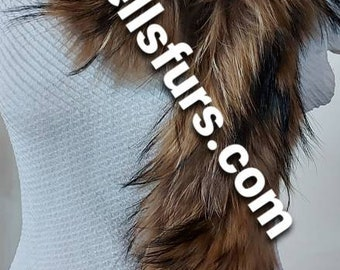 New Natural Real Beautiful FLUFFY super soft RACCOON Scarves!