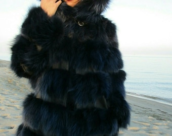 BLUE LIKE SEA! part 2-New,Natural, Real Modern model Hooded Fox Fur jacket!