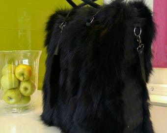 New!Natural,Real Amazing BLACK BIG FOX Fur Bag