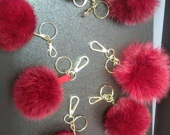 New Excellent Quality RED  MINK Pompom keychains-fur balls!