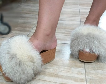 New Real Beautiful Double light colors FoX Fur Platforms!ORDER YouR COLOR COMBINATION!