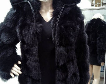 New Natural Real Moder Short Hooded FOX Fur jacket!