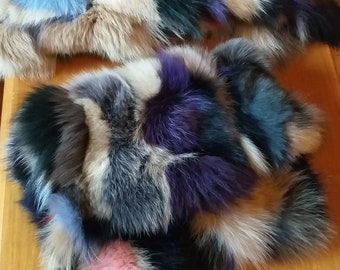 New,Natural,Real Amazing multicolor Fox Fur Bag!