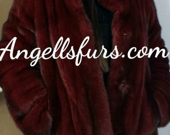 New Natural Real BORDEAUX RED Color Fullskin MINK fur jacket! Order Any color!