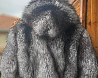 Men'S New!Real Natural HOODED Full Pelts SILVER  FOX Fur Coat!