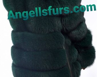 New Natural Real Full pelts Amazing color GREEN FOX Fur jacket with Detachable Sleeves!