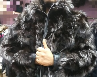MEN'S New!Real Natural Silver Fox Fur Bomber Jacket with zipper!